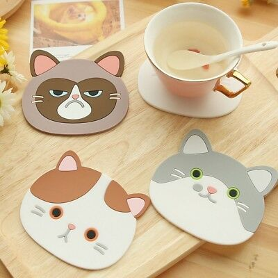 Silicone Cartoon Cat Tea Coasters Cup Holder Mat Pads Coffee Drinks Placemat