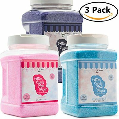 The Candery Cotton Candy Floss Sugar 3-Pack | Raspberry Blue , Strawberry and