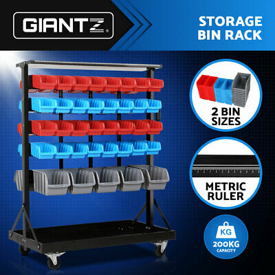74 Bin Dual Side Storage Shelving Rack Workshop Garage Warehouse Tools Organiser