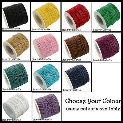 90m Waxed Cotton 1mm beading thread cord bracelet necklace  - Choose Your Colour