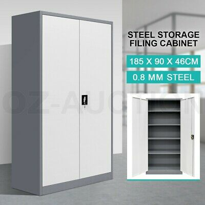 Filing Cabinet Steel Lockable Storage Cupboard w/4 Adjustable Shelves DK GY & WH