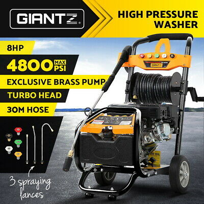 Giantz Cleaner 4800 PSI High Pressure Washer Petrol Water Gurney 30M Hose Reel