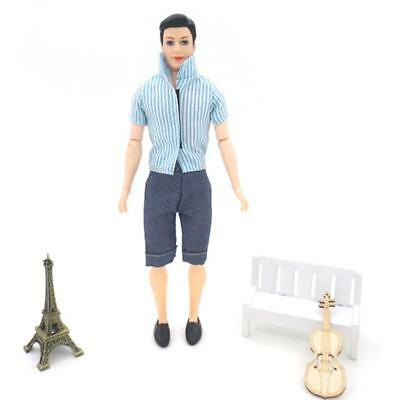 Fashion Dolls Clothes Casual Wear Striped Shirt Pants Outfits for Barbie Ken
