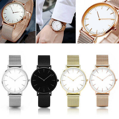Fashion Mens Womens Watches Stainless Steel Mesh Band Quartz Analog Wrist Watch