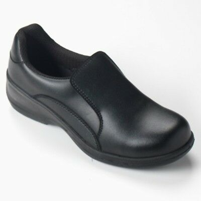 Comfort Grip Black Ladies Slip-On Shoe Steel Toe Cap All Sizes