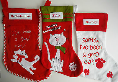 CHRISTMAS STOCKINGS-For your pet Cat-PERSONALISED Embroidered