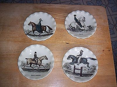 Vintage Set of 4 Small Scalloped Edge Plates/Dishes Victorian Horses Riders