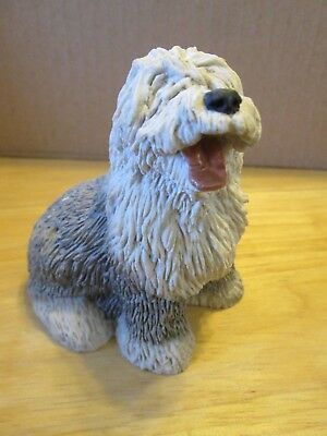 """VINTAGE OLD ENGLISH SHEEPDOG FIGURINE-STONE CRITTER - 1984-  APPROX 3.5"""" Tall"""