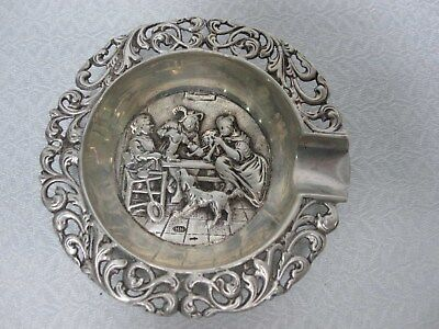 VINTAGE H. HOOIJKAAS DUTCH SILVERPLATE REPOUSSE ASHTRAY with FIGURES