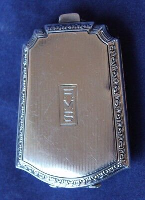 "Antique Webster Sterling Silver 3"" Art Deco Compact and Coin & Card Case ""AMS"""
