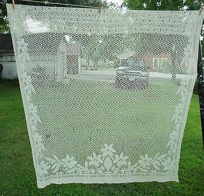 """Antique Open Lace Curtain Flowers Leaves 1 Panel 60"""" x 76"""""""