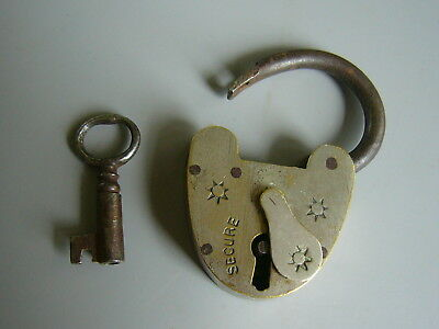 A Small Antique Brass Padlock With Key.