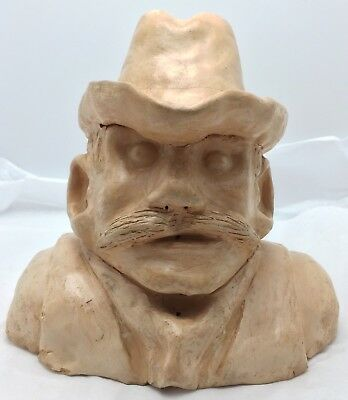 Vintage Clay Pinch Pottery Cowboy Bust Western American Carving Sculpture