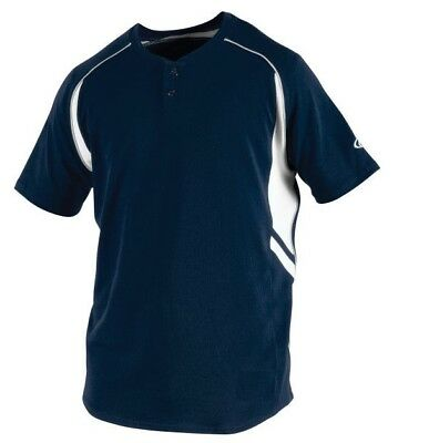 Rawlings Youth 2 Button Short Sleeve Jersey NWT YROAD-N-90 Navy Youth Large