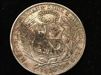 T2: World Coins Peru: 1930 Sol Free Shipping in U.S. Low Mintage