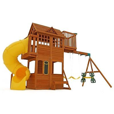 New Large Wood Playground Clubhouse Swing Set Tube Slide Cedar Play