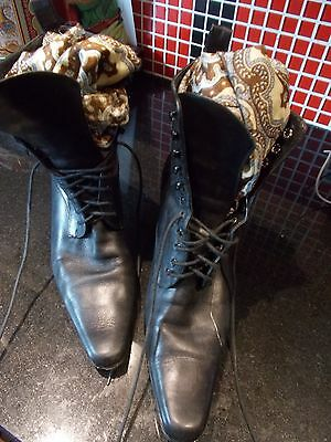 Ladies Hobbs 90S Does Victorian Leather Ankle Boots Vintage Vgc 39 Orig £140.00