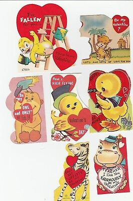 Vintage Valentines Lot of 18 Animal Cards