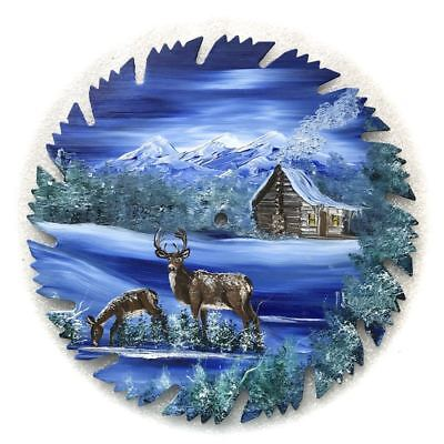 Hand Painted Saw Blade Winter Blue Log Cabin w 2 Deer 9 1/4 inch Blade