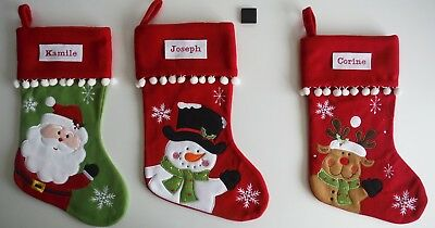 CHRISTMAS STOCKINGS-Santa-Snowman-Reindeer-PERSONALISED-Embroidered
