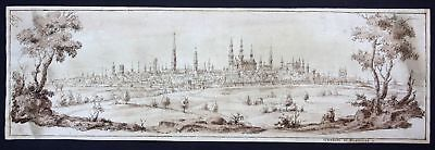 1650 Bruxelles Brussel original sepia drawing dessin manuscript Panorama vue map