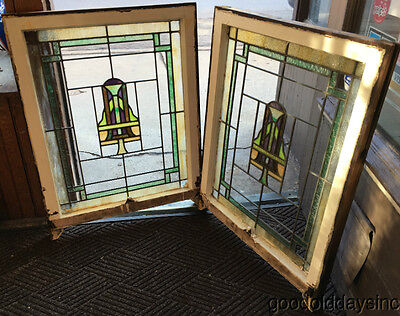 "2 of 4 1920's Chicago Bungalow Stained Leaded Glass Windows 33 1/2"" by 26"""
