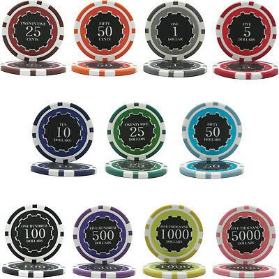 1000pcs 14G ECLIPSE CASINO CLAY POKER CHIPS BULK - Choose Denominations