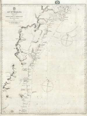 1865 Stokes Chart or Map of Eastern Australia: Barriga Point to Jervis Bay