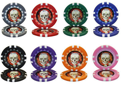 1000pcs 13.5G SKULL POKER CHIPS BULK - Choose Denominations