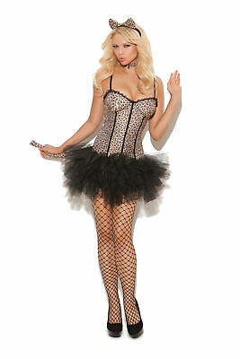 639d2e1700 Sexy 4 Pc Women's Adult Leopard Print Kitty Cat Tutu Dress Halloween Costume  Set
