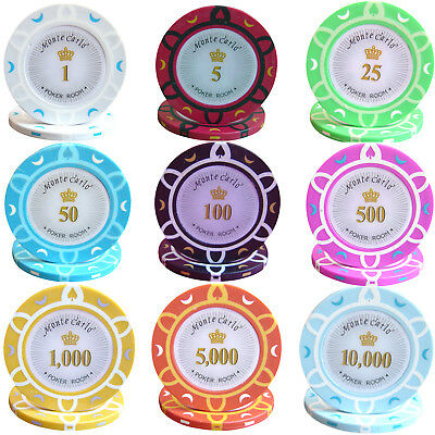 1000pcs 14G MONTE CARLO POKER ROOM POKER CHIPS BULK - Choose Denominations