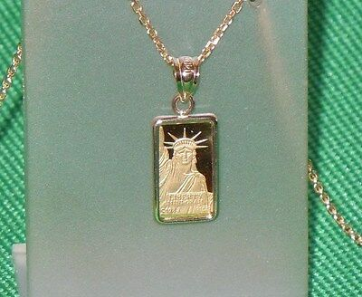 PURE .9999 GOLD ~1~GRAM ~ STATUE of LIBERTY  BAR ~ 14-KT GOLD  PENDANT ~ $108.88