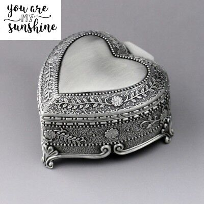 Vintage Tin Alloy Heart Shape  Music Box ♫ You Are My Sunshine ♫