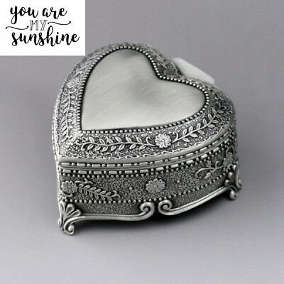 Vintage Tin Alloy Heart Shape Wind Up  Music Box ♫ You Are My Sunshine ♫