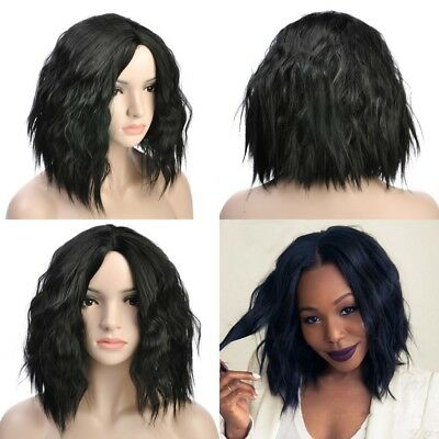Women Short Wavy Bob Human Hair Full Lace Wig Glueless Lace Front Wigs Black