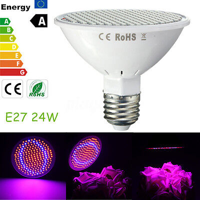 E27 24W 200 LED Full Spectrum Flower Plant Veg Grow Light Hydroponic Bulb Lmap