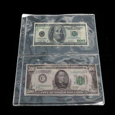 1PC Pages 2 Pockets Money Bill Note Album Currency Holder Storage Collection