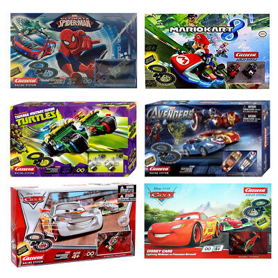 Carrera Slot Racing Tracks Spiderman TMNT Turtles Mario Kart Cars Available