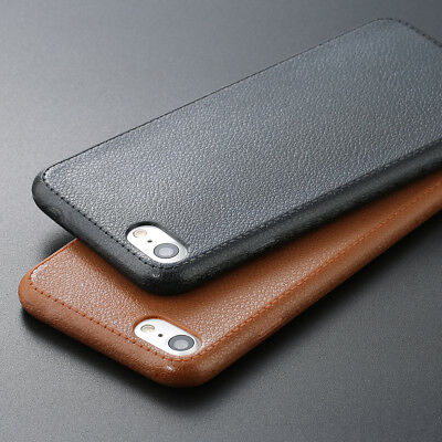 Luxury Ultra Thin Leather Grain Back TPU Soft Case Cover for iPhone 6s 7 7 Plus