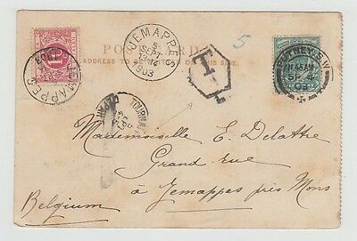 Great Britain Old Postcard Westminister Puttney To Belgium Postage Due 1903 !!