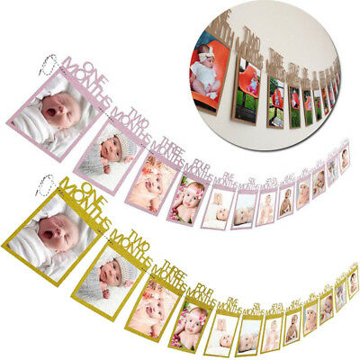 Kids Baby Birthday Gift Decorations 1-12 Month Photo Banner Monthly Photo Wall