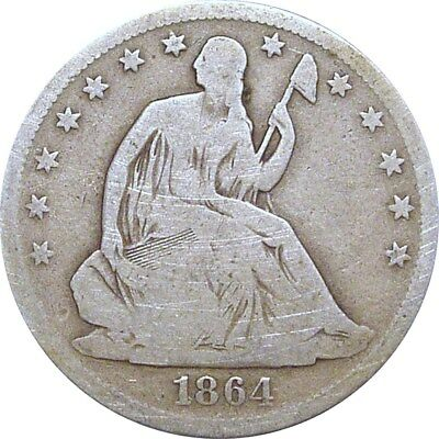 1864-S Seated Half Dollar--Nice Good--Better Date