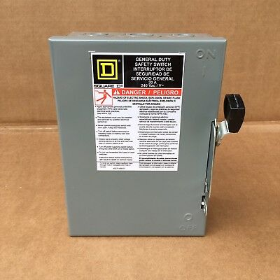 NEW SQUARE D GENERAL DUTY SAFETY SWITCH 30A 240V AC Electrical Fuse Box