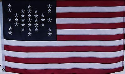 Cotton Fort Sumter Flag - Sewn Stripes Embroidered - Civil War Quality Dixie Usa