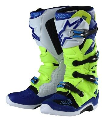 Troy Lee Designs Alpinestars Tech 7 Boots Flo Yellow/Blue Adult All Sizes