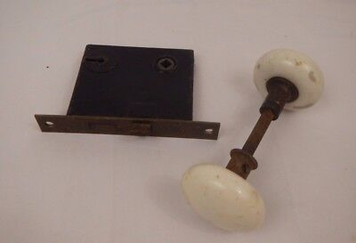 Antique vintage set of white porcelain door knob set lock
