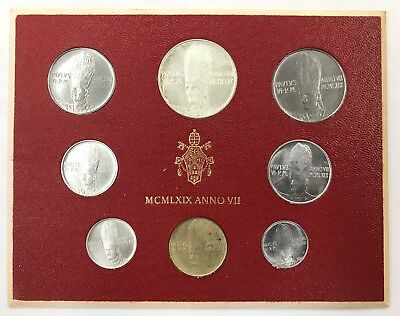 1969 Vatican City Italy 8-Coin Silver Mint Set In Original Packaging