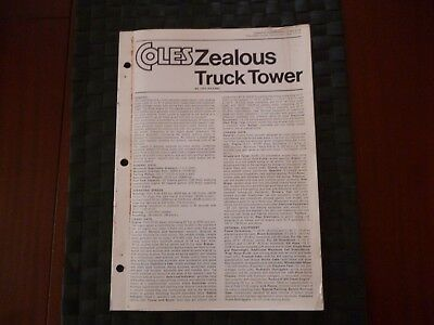 Coles Zealous Truck Tower Technical Spec 7702/3/72 Booklet/leaflet *as Pictures*