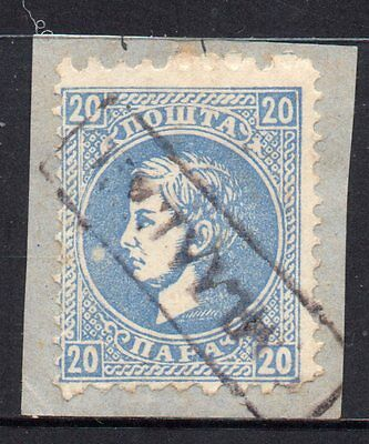 Serbia: 1876 Milan I 20 pa. SG 43c used on piece