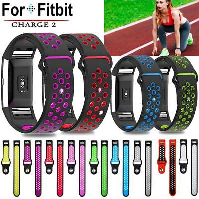 Bicolor Sports Silicone Bracelet Strap Replacement Watchband For Fitbit Charge 2